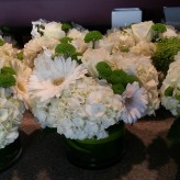Centrepieces- whites and green