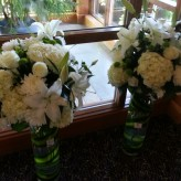 Tall White and Green Altar arrangements
