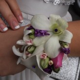 Wrist Corsage-purple, whites and pink