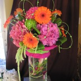 Funky pinks and orange arrangement