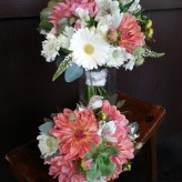Corals and whites bridal bouquets